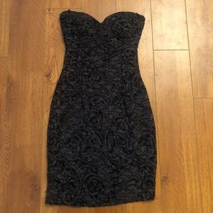 Mystic Black Floral Lace Strapless Dress